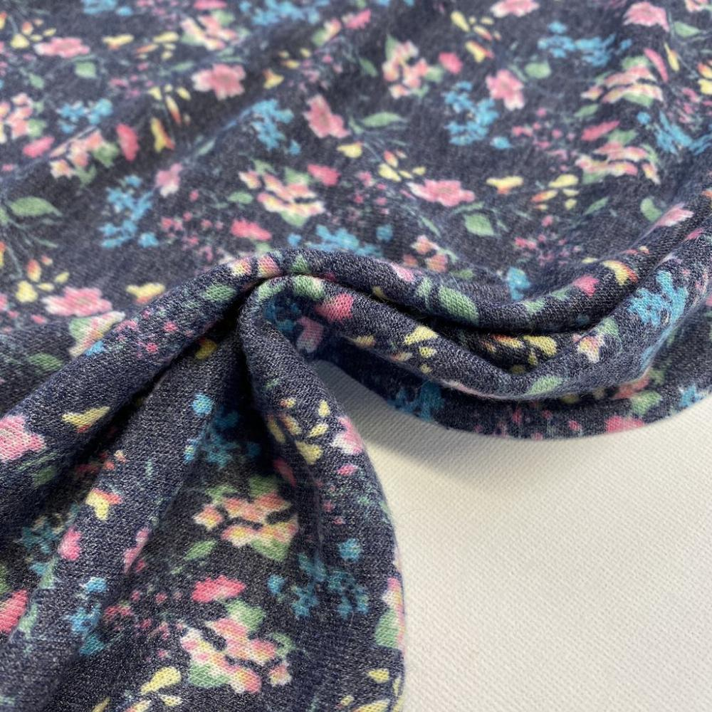 French terry floral azul